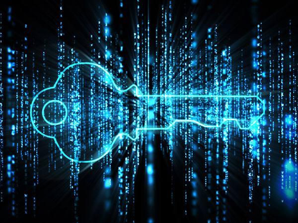 Blue glowing key on blue glowing computer matrix